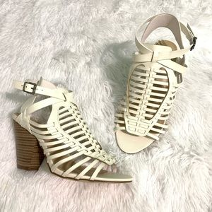 JUSTFAB Fasionably late caged heel sandals 7.5WW